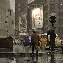 This is a street scene from New York, but it matches the aesthetic of the story. Rain slicked streets, generally flat grey tones, with isolated lights that promise a coziness in the distance.