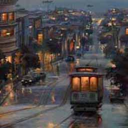 Although this is an image of San Francisco, it has the perfect combination of post-rain sunset and clouds, with wet streets, as well as the contrast of warm cozy interiors and a chilly outside.