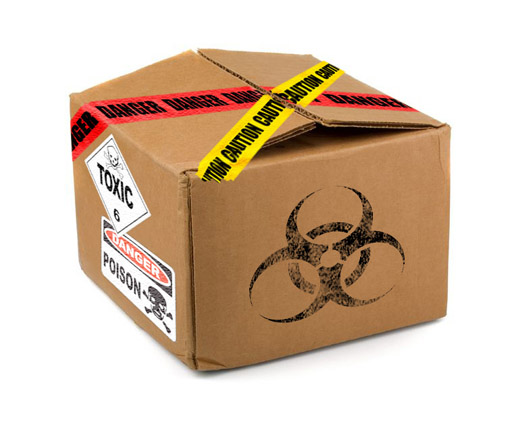 Boxes labelled dangerous